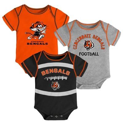 NFL Cincinnati Bengals Baby Boys' Newest Fan 3pk Bodysuit Set - 3-6M