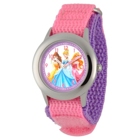 Girls' Disney® Princess Stainless Steel Time Teacher Watch - Pink - image 1 of 2
