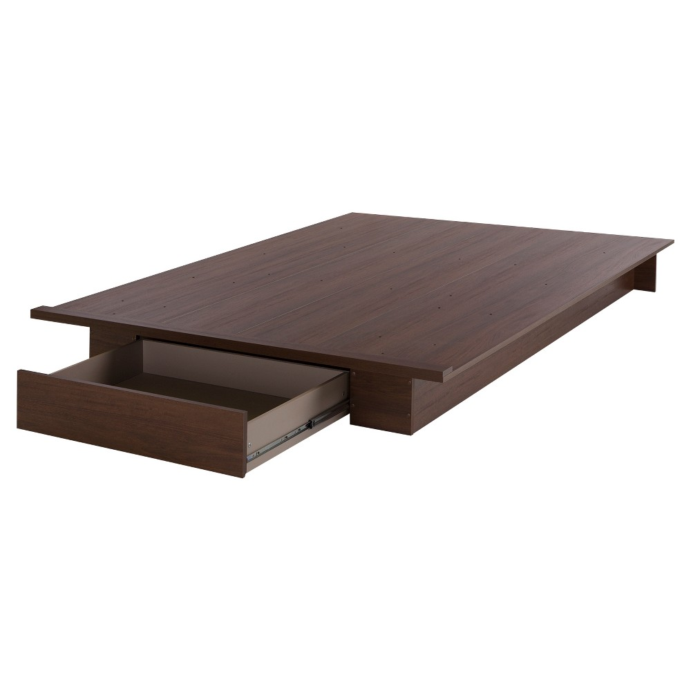 Primo Platform Bed with Drawer - Full - Queen - Brown Walnut - South Shore
