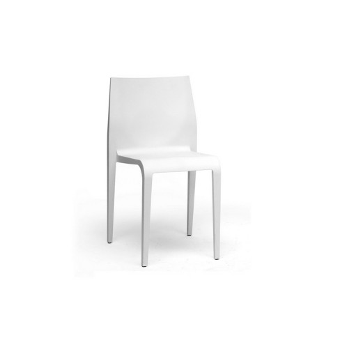 Set Of 2 Blanche Molded Plastic Modern Dining Chairs White Baxton Studio