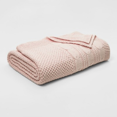 Full/Queen Cable Knit Chenille Blanket Pink - Threshold™