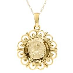"""Pompeii3 14 Karat Yellow Gold Miraculous Mary Religious Pendant Necklace 1"""" Tall"""