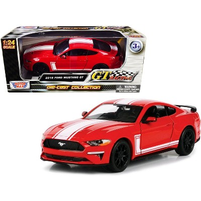 """2018 Ford Mustang GT 5.0 Red with White Stripes """"GT Racing"""" Series 1/24 Diecast Model Car by Motormax"""