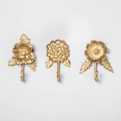 "6.4"" x 4"" 3pc Cast Brass Floral Wall Hook Set Gold - Opalhouse™"