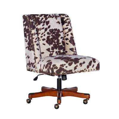 Draper Office Chair Brown Cow Print - Linon