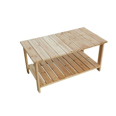 Solid Reclaimed Fir Wood Natural Accent Table - Patio Festival