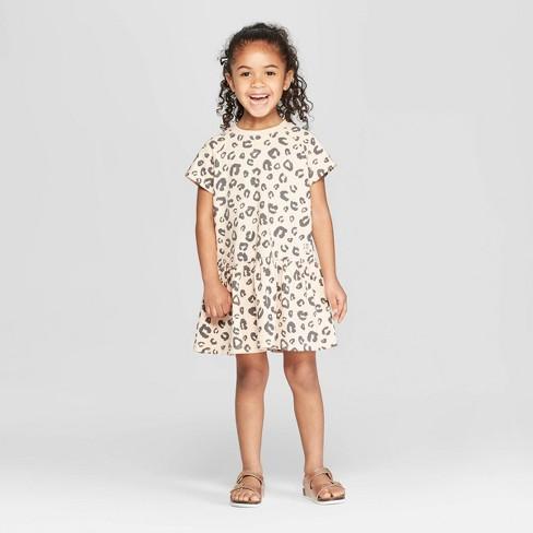 9e01334b152 Toddler Girls  Short Sleeve Leopard Peplum T-Shirt Dress - art class™ Pink