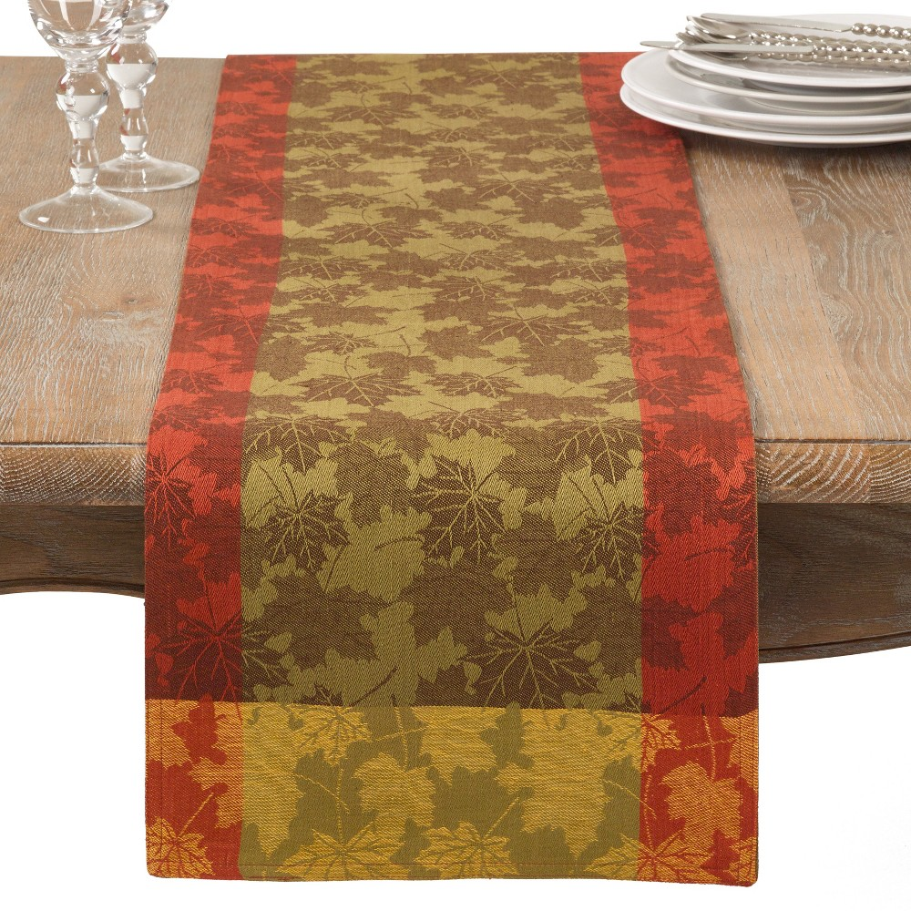 Green Jacquard Table Runner - Saro Lifestyle, Multi-Colored