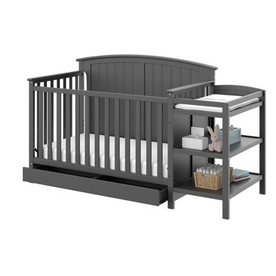 Storkcraft Steveston 4-in-1 Convertible Crib and Changer with Drawer - Gray