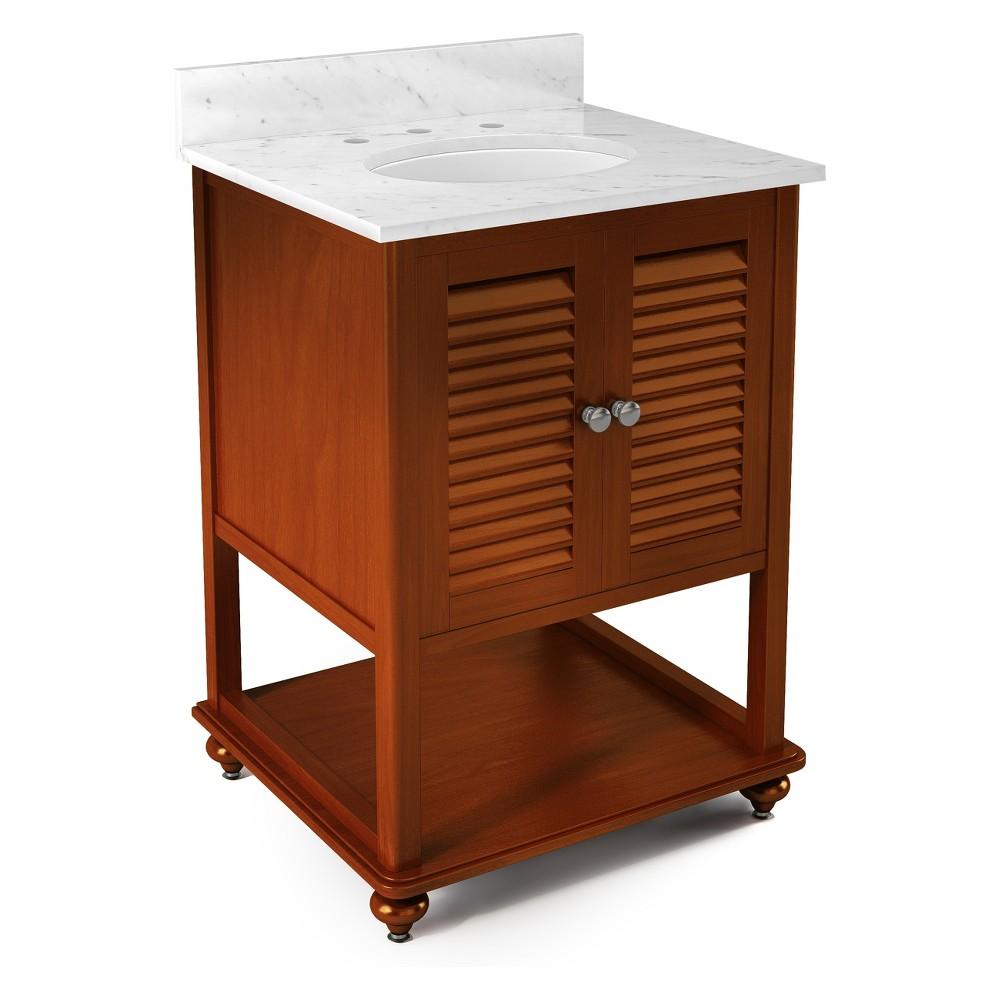 Tahiti Beige Marble Sink Top Set Bath Vanity Cabinet Brown 25 - Alaterre Furniture