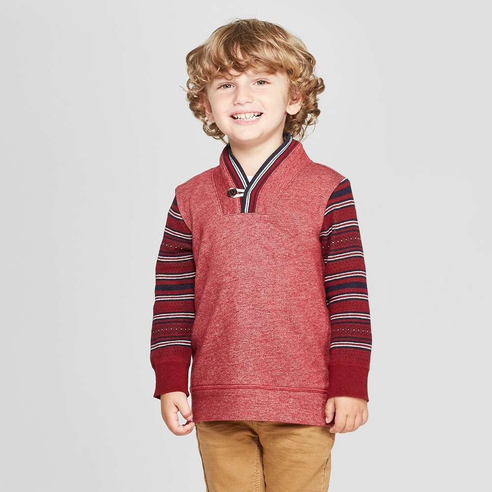 Image of Genuine Kids from OshKosh Toddler Boys' Shawl Pullover Sweater - Cranberry 12M, Toddler Boy's, Size: 12 Months, Pink