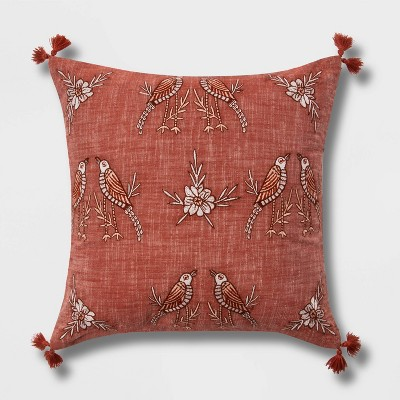 Embroidered Chambray Bird Square Throw Pillow with Tassels - Threshold™