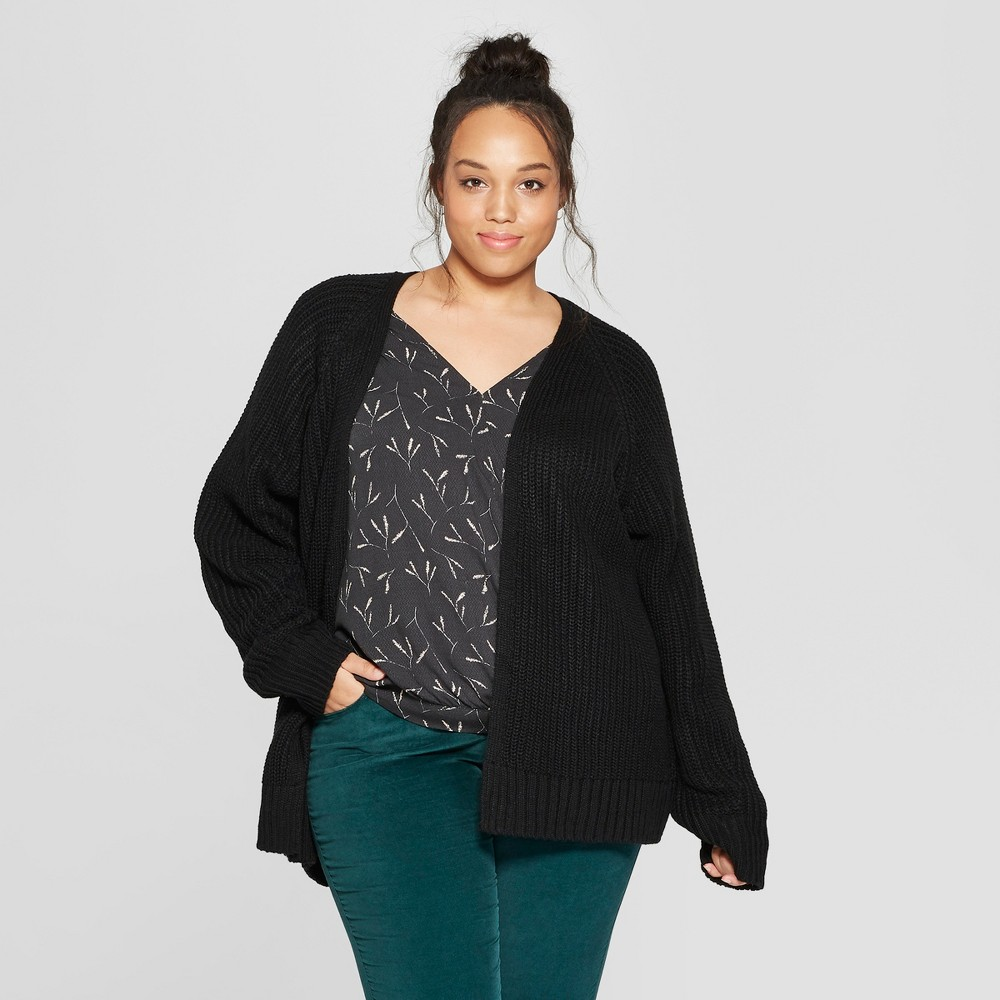 Women's Plus Size Long Sleeve Relaxed Open Layering - Universal Thread Black 2X