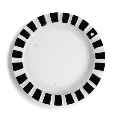 DEMDACO Black and White Striped Round Pop-In Platter 14 x 14 - White