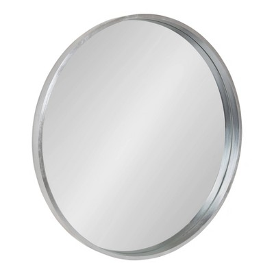 "25.6"" Travis Round Wood Accent Wall Mirror Silver - Kate and Laurel"