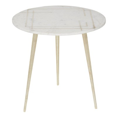 Modern Aluminum Accent Table White - Olivia & May