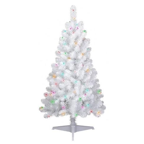 4ft Christmas Tree.4ft Pre Lit Artificial Christmas Tree White Iridescent Tinsel Slim Alberta Spruce Multicolor Lights Wondershop