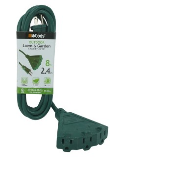 Woods 8ft Outdoor Extension Cord with Power Block Green