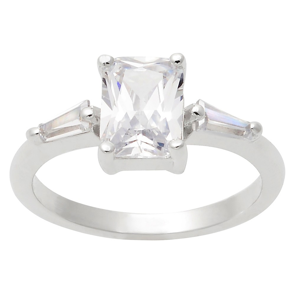 2 7/8 CT. T.W. Baguette-cut Cubic Zirconia Engagement Basket Set Ring in Sterling Silver - Silver, 6, Girl's