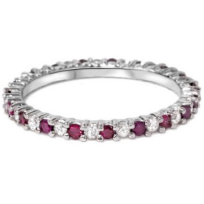 Pompeii3 1/2Ct Ruby & Diamond Eternity Wedding Ring 14k White Gold Womens Band