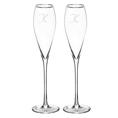 2ct Monogram Silver Rim Champagne Flutes - K