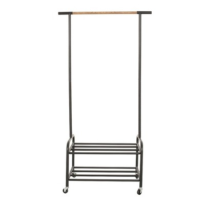 Metal Rolling Clothing Garment Rack on Wheels with 2-Tier Storage Shelves,  Freestanding Closet in Black