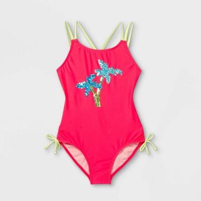 Girls' Palm Tree Flip Sequin One Piece Swimsuit - Cat & Jack™ Pink