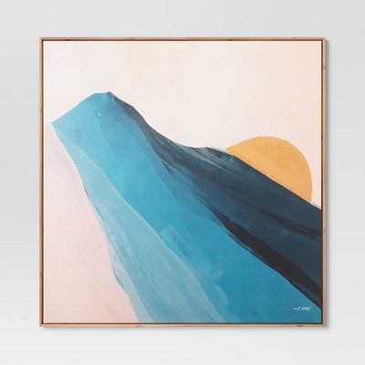 "37"" x 37"" Abstract by Morgan Harper Nichols Framed Wall Canvas Blue"