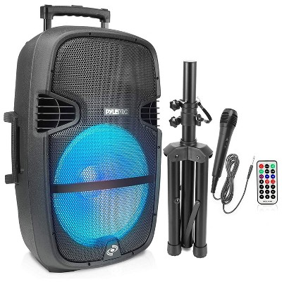 Pyle PPHP1548B Portable Bluetooth Wireless Streaming PA Speaker System Kit with Remote Control, Wired Microphone, Rolling Wheels, and Foldable Stand
