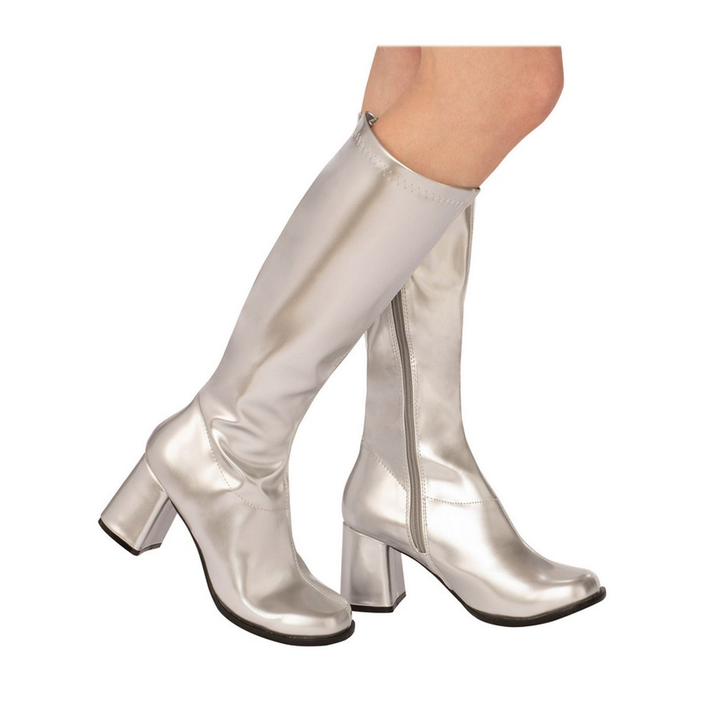 Women's GoGo Costume Boots - Silver 10, Size: 10 Shoe