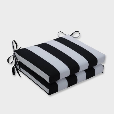 2pk Cabana Stripe Squared Corners Outdoor Seat Cushions Black - Pillow Perfect