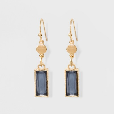 Coin And Rectangular Hanging Stone Earrings A New Day Blue Gold Target