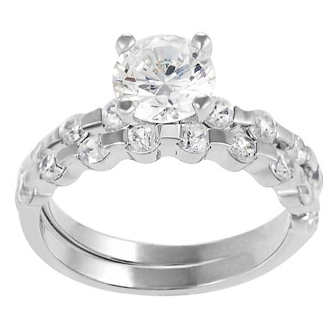 6 3/4 CT. T.W. Round-cut Cubic Zirconia Engagement Prong Set Ring Set in Sterling Silver - Silver - image 1 of 3