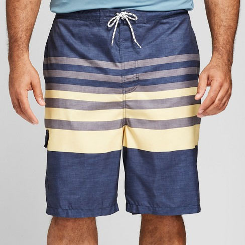 "Men's Big & Tall 21"" Board Shorts Short- Yellow Stripe - Goodfellow & Co™ Yellow Stripe - image 1 of 3"