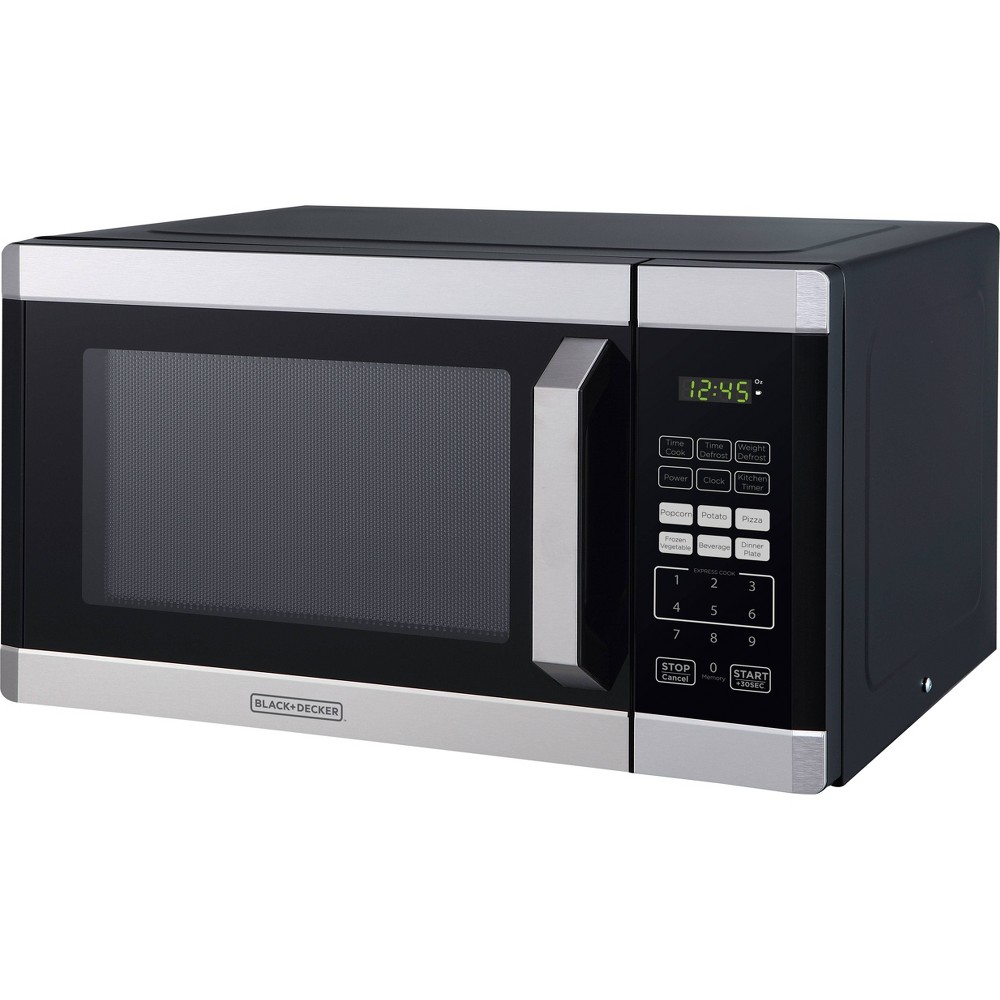 Image of BLACK+DECKER 0.9 cu ft 900W Microwave Oven - Stainless Steel, Silver