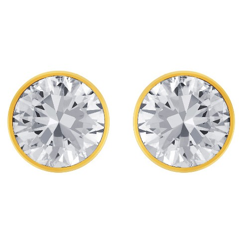 Women's Bezeled Set Cubic Zirconia Stud Gold Plated Stainless Steel Earrings (8mm) - Gold/Clear - image 1 of 3