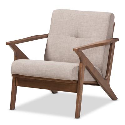 Bianca Mid Century Modern Walnut Wood Light Gray Fabric Tufted Lounge Chair Light Gray - Baxton Studio