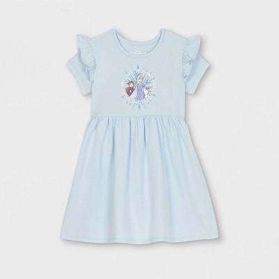 Toddler Girls' Disney Frozen Knit Short Sleeve Dress - Blue