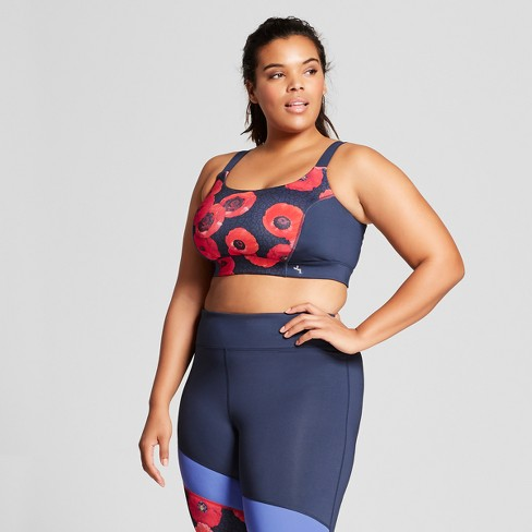 560ccae5a6 Women s Plus Color Block Sports Bra - JoyLab™ Navy Poppy   Target