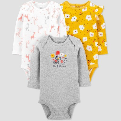 Baby Girls' 3pk Floral Long Sleeve Bodysuit - Just One You® made by carter's Yellow Newborn