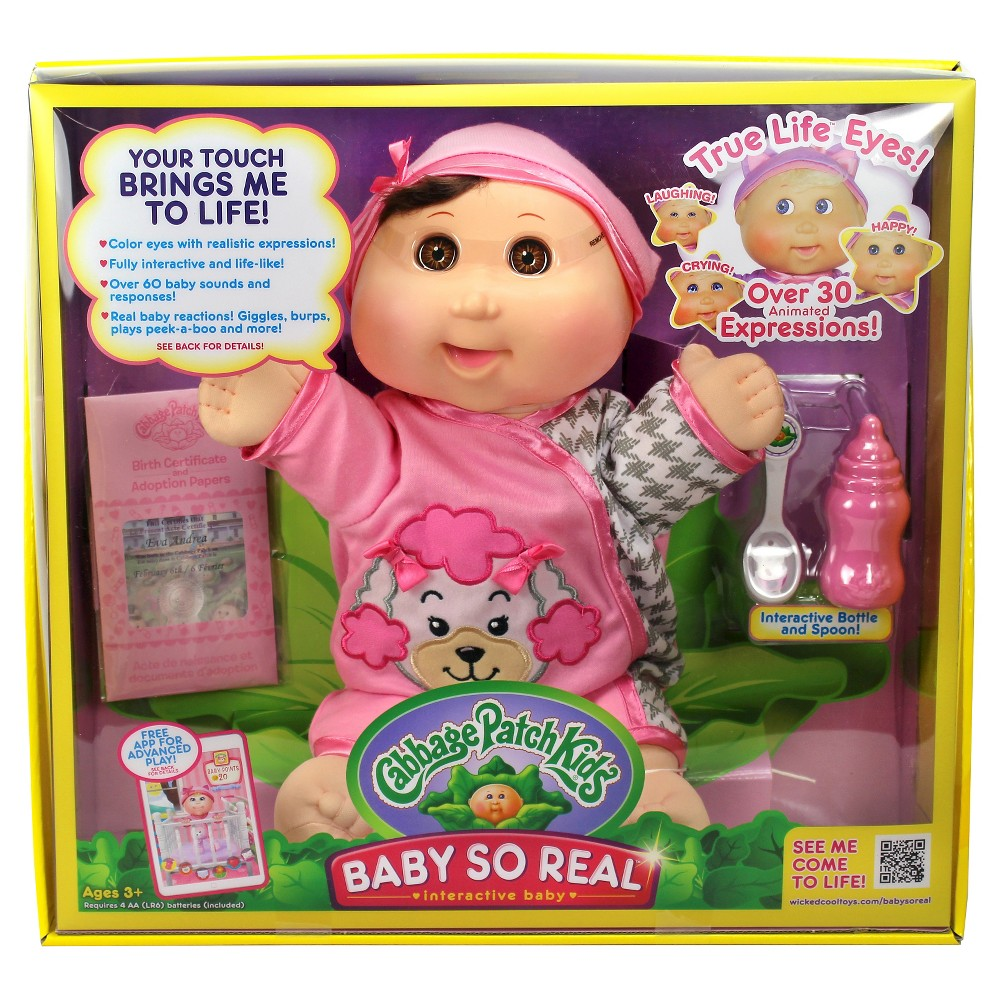 Cabbage Patch Kids 14 Baby So Real - Brunette Hair Brown Eyes with Poodle Fashion