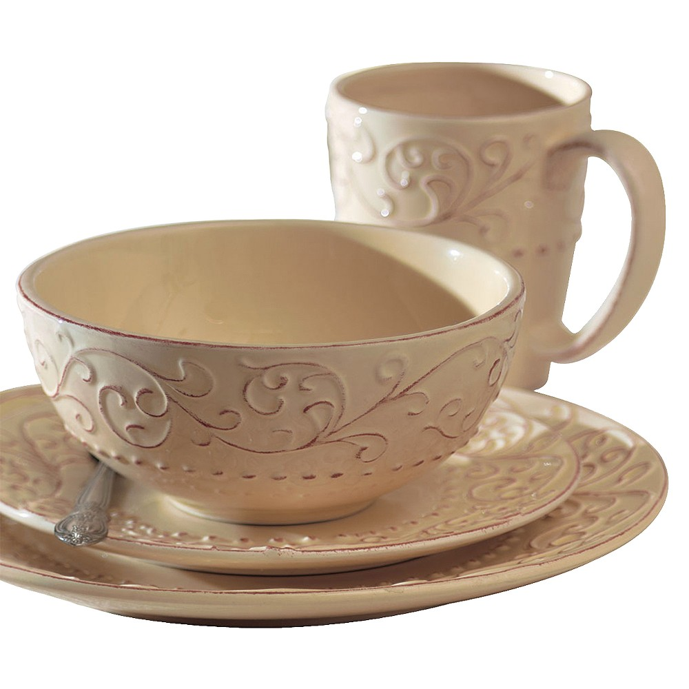 Image of American Atelier Bianca 16pc Dinnerware Set Cream (Ivory)