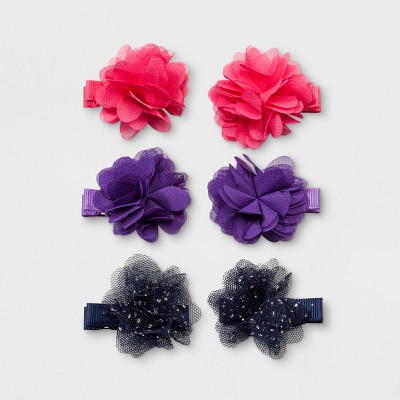 Toddler Girls' 3pk Metallic & Chiffon Flowers Hair Clips - Cat & Jack™ Pink/Black/Blue
