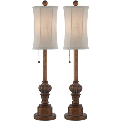 Regency Hill Traditional Buffet Table Lamps Set of 2 Warm Brown Wood Tone Tall Fabric Drum Shade for Dining Room