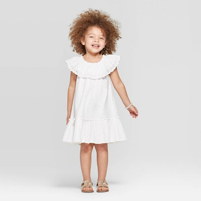 Toddler Girls' Ruffle Embroidered A-Line Dress - Cat & Jack™ White 12M