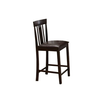 Set of 2 Wood and Leather Counter Height Barstools with Slat Back Design Brown - Benzara