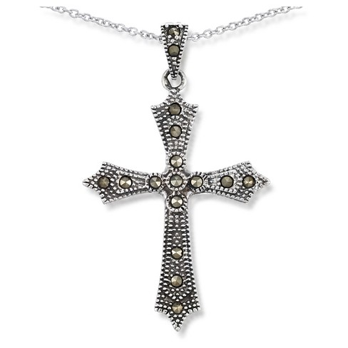 "Marcasite Cross Pendant +18"" Rodium Cable-Sterling Silver - image 1 of 1"