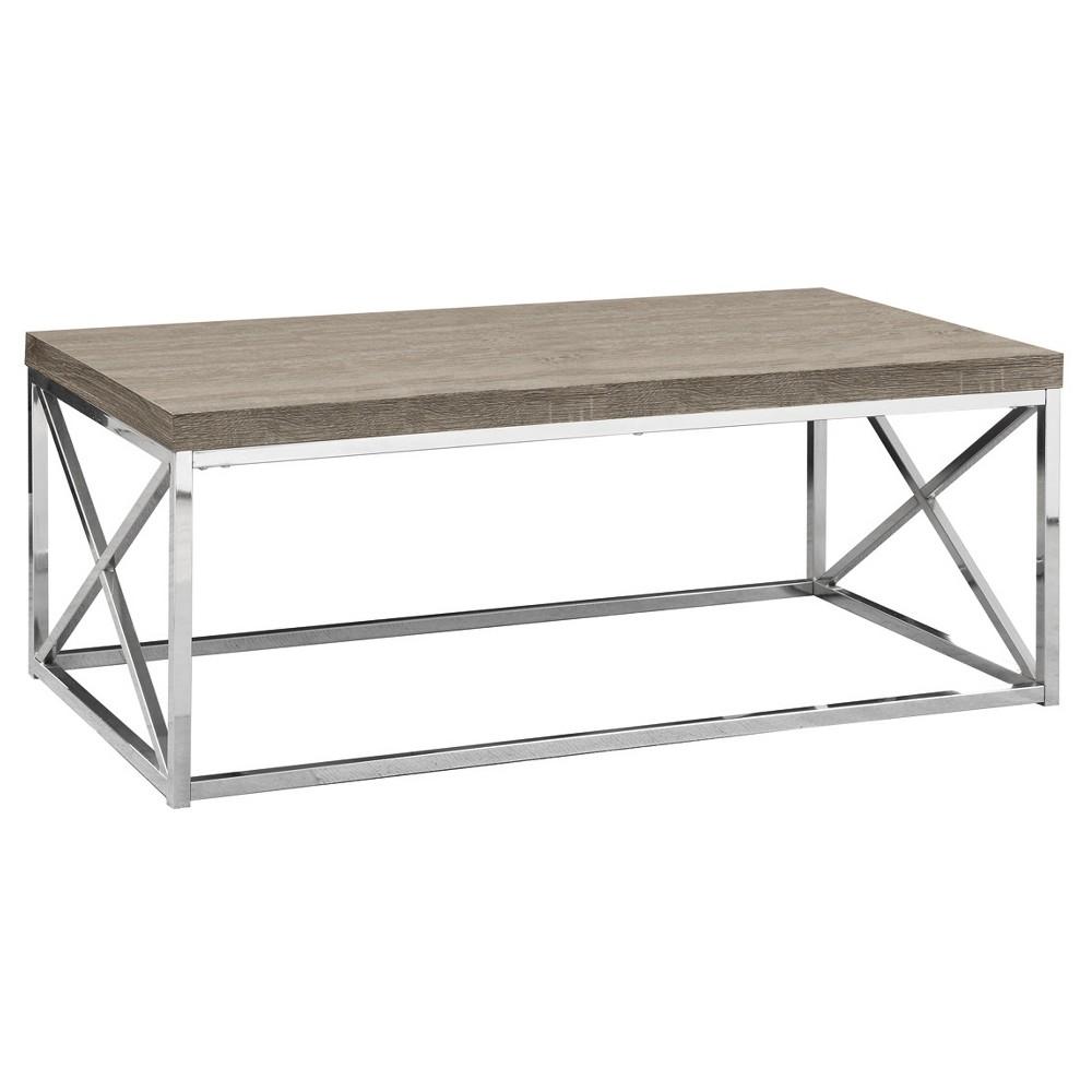Coffee Table - Chrome Metal, Dark Taupe - EveryRoom