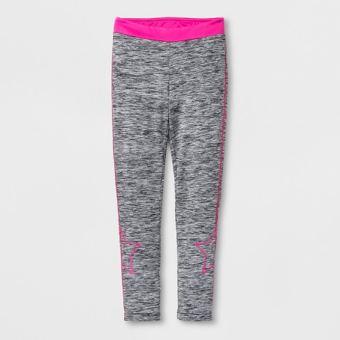 Girls' Star Sporty Cozy Lined Leggings - Cat & Jack™ Heather Gray - image 1 of 3