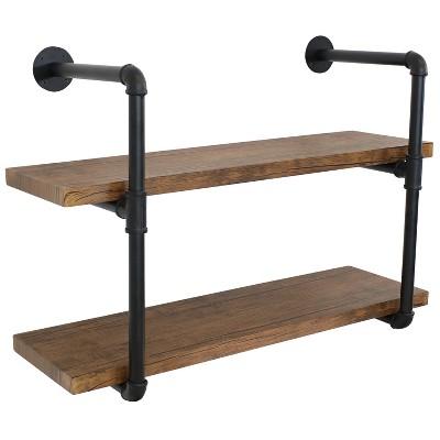 2-Tier Industrial Pipe Wall-Mounted Floating Shelf - Teak Veneer - Sunnydaze Decor